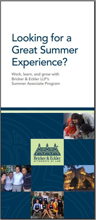 Bricker & Eckler Summer Associate Recruiting Brochure
