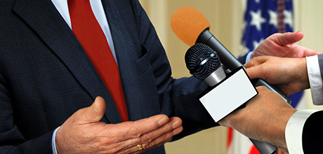 Speaking into microphone