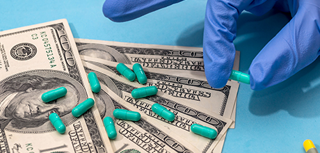 prescription medication and money